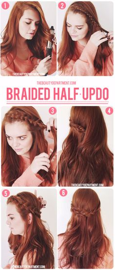 braided half updo hair tutorial the beauty department - Don'tforget to tease before securing the two braids behind. Half Updo Hairstyles, Pretty Hairstyles, Braided Half Updo, The Beauty Department, Tips Belleza, Great Hair, Hair Dos, Gorgeous Hair, Hair Hacks