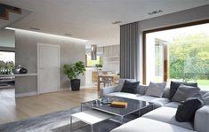 Zdjęcie projektu HomeKoncept-09 KRX1009 Living Room Sectional, Home Living Room, Living Room Decor, Cuir Center, Cool Room Designs, Best Interior, Interior Design, Attic House, Modern House Plans