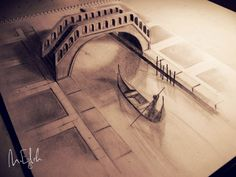 Incredible pencil drawings by talented Syrian artist Muhammad Ejleh look three-dimensional when viewed from a specific angle. Some of the pencil drawings were colored and combined with real world objects to further enhance the Illusion. 3d Pencil Art, 3d Pencil Drawings, Easy 3d Drawing, 3d Art Drawing, Boat Drawing, Drawing Lessons, Amazing Drawings, Cool Drawings, Amazing Art