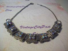 Vintage Dazzling Aurora Borealis Silver Necklace by vintagecitypast on Etsy