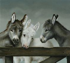 'Aaibaar trio' painting with three donkeys by Suzan Visser