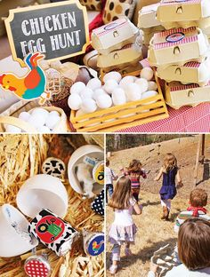 Maybe an egg hunt- each guest gets a half dozen carton and has to find a certain color egg- older kids gets harder to find color younger kids get easier to find color (hiding spots). They can be filled with goodies or they find them through the other activities and have to fill up their eggs....