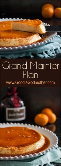 flan gets a citrus liquor twist in this Grand Marnier flan recipe. Flan is a delicious, cooling, custard dessert common in Latin cuisine. Custard Desserts, No Bake Desserts, Just Desserts, Delicious Desserts, Dessert Recipes, Gourmet Desserts, Grand Marnier, Mexican Food Recipes, Sweet Recipes