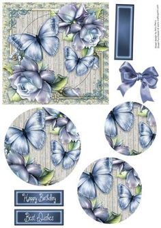 Beautiful Blue Roses With Butterflies Pyramid on Craftsuprint designed by Amy Perry - Beautiful Blue Roses With Butterflies Pyramid in lovely frame with matching tag - Now available for download!