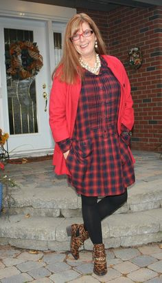 red plaid over 40 style blogger - look great