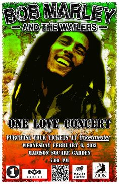 Bob Marley and the Wailers-One Love Concert,Madison Square Garden 2013 Vintage Advertising Posters, Vintage Posters, Bob Marley, Wall Art Prints, Poster Prints, Canvas Prints, Marley Coffee, Kunst Poster, The Wailers