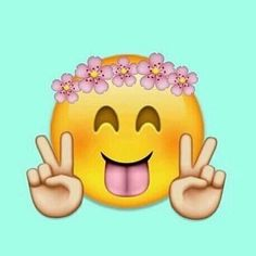Imagen de peace, emoji, and flowers