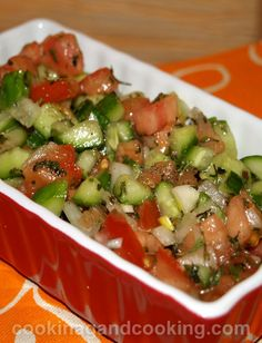 Salad Shirazi or Persian Tomato Cucumber Salad Recipe Shirazi Salad, Healthy Snacks, Healthy Eating, Healthy Recipes, Salada Light, Cucumber Salad, Tomato Salad, Veggie Dishes, Healthy Foods