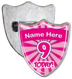 Custom 9th birthday badge. Simply enter the name that you would like to be added onto your badge and we will create a custom shield shaped personalised birthday badge.