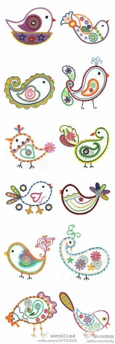 Embroidered birds ~ Would make cute best friends tattoos