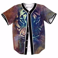 Tiger King Jungle Space Star Theme Trendy Baseball Jersey #Tiger #King #Jungle #Space #Star #Theme #Trendy #Baseball #Jersey