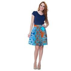 Vestido Estampado Azul - Hapuk