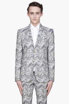 Mugler Blue And Beige Printed Two-button Blazer for men | SSENSE