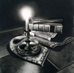 Nichola Martin (©2009 nicholamartinfineart.com) Charcoal - The high contrast in this picture with the candle light is amazing! The shading based on where the light falls on the books is so realistic. This picture is interesting to me because of the idea to use candlelight. -Macie