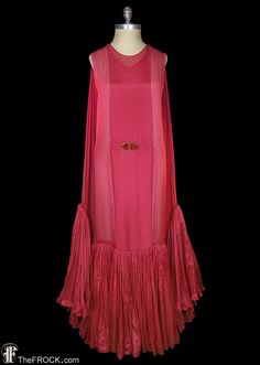 RESERVED - Flapper era dress, 1920s art-deco gown, red silk chiffon, Great Gatsby style, authentic antique couture
