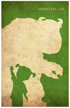 Minimalist Vintage-Style Poster - Monsters, Inc.