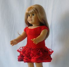 American Girl Doll Clothes - Red Ruffle Party Dress