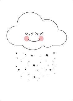 Sweet cloud Art Print by Eef Lillemor Deco Kids, Cloud Art, Cloud Drawing, Cute Illustration, Nursery Art, Clipart, Cute Drawings, Cute Wallpapers, Wallpaper Wallpapers