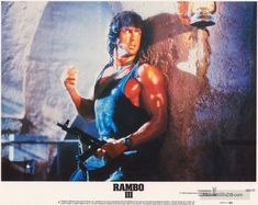 Rambo III - Lobby card with Sylvester Stallone. The image measures 4100 * 3262 pixels and was added on 1 January Action Movie Stars, Action Movies, Rambo 4, Sylvester Stallone Rambo, Silvester Stallone, Blood Photos, First Blood, Hero Movie, Rocky Balboa
