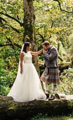 Bride and groom on the banks of Loch Lomond, Cameron House, Scotland Tartan Wedding, Tartan Kilt, Loch Lomond, Kilts, Fantasy Inspiration, Plaid Skirts, Autumn Wedding, Highlands, People Around The World