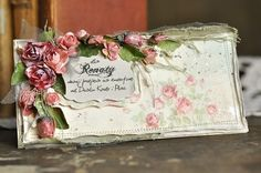 A romantic rose card by talented Ewa using papers from the Paris Flea Market collection