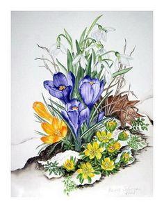 """Maria Inhoven, """"Warten auf den Frühling"""" (77) / 2008  Mit einem Klick auf 'Als Kunstkarte versenden' versenden Sie kostenlos dieses Werk Ihren Freunden und Bekannten."""