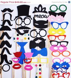 Items similar to Wedding Photo Booth Props - 42 Piece Party Prop Set - Photobooth Props - Mustaches, Glasses, Lips, Chevron Bow Ties and More on Etsy Wedding Photo Booth Props, Party Props, Party Ideas, Circus Party, Chevron Bow, Mouse Photos, Red Minnie Mouse, Bridal Shower Photos, Wedding Photos