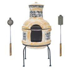 CLAY CHIMINEA BBQ + CAST IRON BURGER & HOT DOG GRILLS