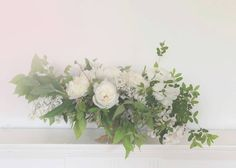 compote vases spilling with seeded eucalyptus, jasmine vine, ivory garden roses, white ranunculus White Ranunculus, White Peonies, Green Flowers, Beautiful Flowers, Jasmine Vine, Composition, Magnolia Leaves, Seeded Eucalyptus, Spray Roses