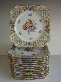 "Pierced Chateau Dresden Schumann Bavaria Porcelain Square Plates 8"""