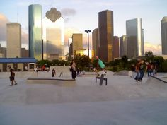 Basically just post photos of any urban skatepark in your city. Lee and Joe Jamail Skatepark - Houston This park is thought to have the largest. Skate Park, Shopping Mall, Building Design, Silhouettes, Parks, Buildings, Jackson, Texas