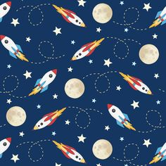 Rockets In Space surface pattern design - on fabric, wallpaper and giftwrap - Spoonflower, Hazel Fisher Creations