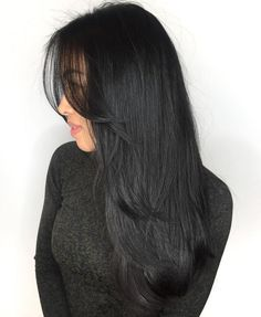 50 cute and effortless long layered haircuts with bangs – best hairstyles haircuts - Frisur Ideen Black Hair Layers, Hair Color For Black Hair, Black Hair Bangs, Medium Black Hair, Front Hair Layers, Black Hair Fringe, Black Colored Hair, Hair Styles Long Layers, Long Hair Fringe