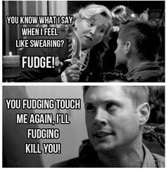 I fudging LOVE Supernatural Dean Winchester Destiel, Johnlock, Supernatural Fans, Supernatural Tattoo, Supernatural Christmas Episode, Supernatural Funny Moments, Supernatural Wallpaper, Misha Collins, Jared Padalecki