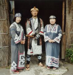 Ainu people wearing traditional clothing. The Ainu are an indigenous people of Japan (Hokkaido, and formerly northeastern Honshu) and Russia (Sakhalin and the Kuril Islands).