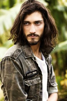 ANDRES RISSO - look at that gorgeous dark hair. is he blessed or what? Long Dark Hair, Men Photography, Male Face, Facial Hair, Male Beauty, Bearded Men, Hair Inspiration, Character Inspiration, Cool Hairstyles