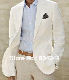 Ivoire linge costume Custom Made hommes lin blanc veste et pantalons pour hommes costumes de lin pour smokings de mariage pour…