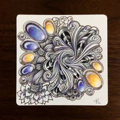 tanglefan beautiful gems gemstone Zentangle tangle doodle