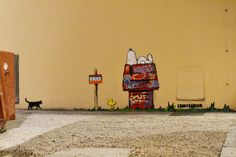 Niche dédicacée par un artiste des rues... ! / Snoopy. /  Street Art. / By Kenny Random.