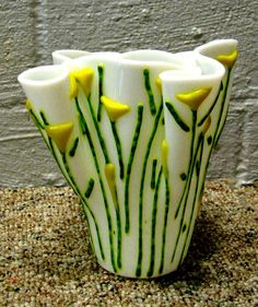 Gorgeous fused glass vase...by lauradawsonglass