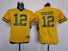 5b9c73266 NFL Green Nike Bay Packer  12 Aaron Rodgers Yellow Youth Jerseys (8-20