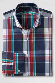 Men's Tailored Fit Cutaway Collar Poplin Dress Shirt from Lands' End
