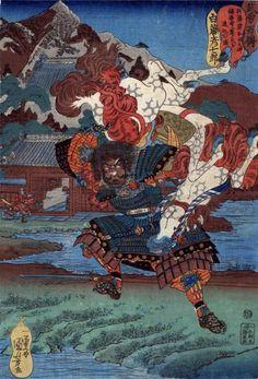 Scene: Shirafuji Hikoshichirô (白藤彦七郎) preparing to throw his struggling horse at Ashikaga Taka-uji, who is about to enter Fukkaiji Temple by Utagawa Kuniyoshi