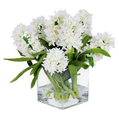 Jane Seymour Botanicals 12 in. White Hyacinths with Square Glass Vase Silk Flower Arrangement | from hayneedle.com
