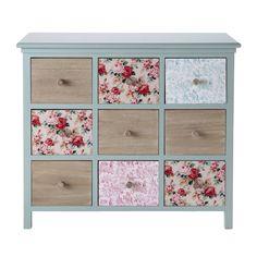 Wooden 9 drawer chest cabinet in blue W 88cm Angelique