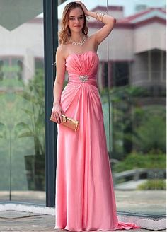 In Stock Lovely A-line Strapless Sweetheart Full Length Evening Dress With Beads And Pleats