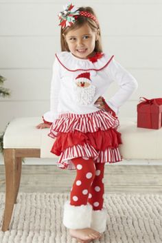 mud pie christmas outfit toddler or infant santa fur cuff pant set girls christmas outfit - Mud Pie Christmas Outfit