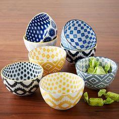 Pad Printed Bowls - Gray Ikat #westelm