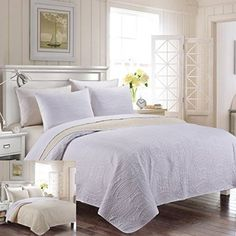 3-Piece Reversible King / Cal King Bedspread White / Ivory Coverlet Embossed Bed…