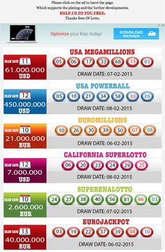 New Result available 2015.02.10 http://www.bestoflotto.com/lottery-results.html